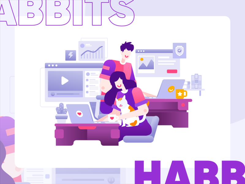 Habbits work vector branding ecommerce ux ui app homepage website service design illustration