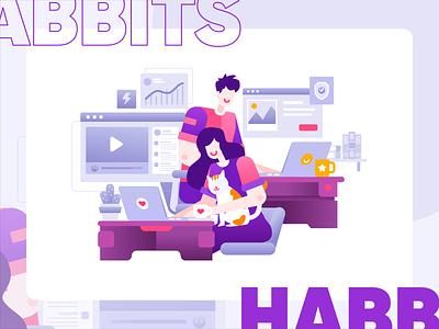 Habbits work vector branding ecommerce ux ui app homepage website service design illustration