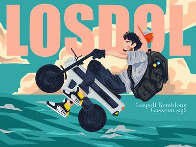 Kuy Gaskeun explore procreate ui courier bike intro website homepage editorial service design illustration