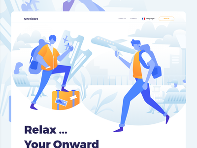 One Ticket Illustration travel booking app ticket ecommerce plane ui website homepage service design illustration