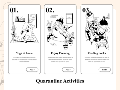 Quarantine Activities activities lineart quarantine mobile ecommerce app homepage website ui service design illustration