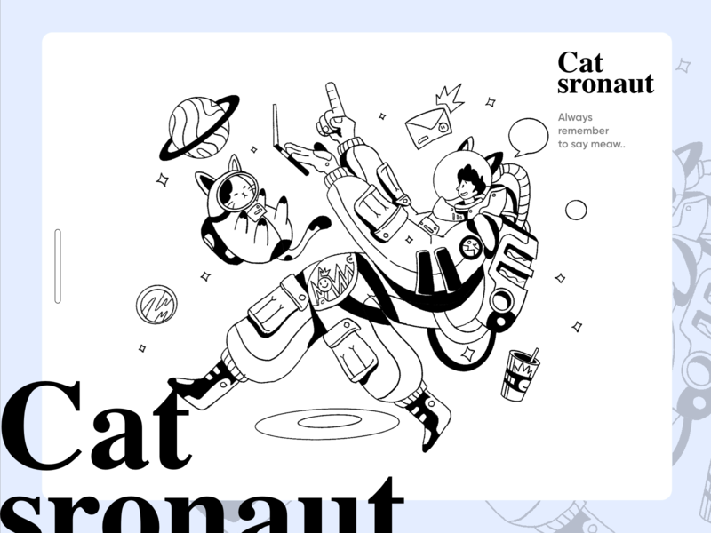 Catstronaut message astronaut space cat ui ecommerce app homepage website service design illustration