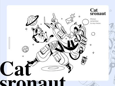 Catstronaut message astronaut space cat ui ecommerce app homepage website service design illustration