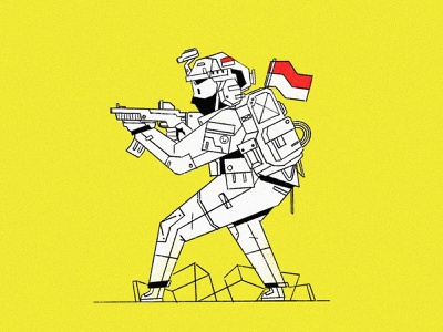 Toy Soldier icon military indonesia soldier simple army drawing character homepage website service design illustration