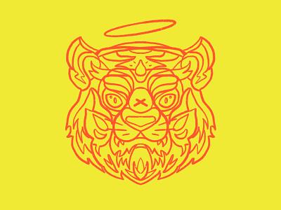 T.I.G.E.R. awwrrrr tiger simple patch graphic design vector art line unique shirt animal mascot branding logo service design illustration