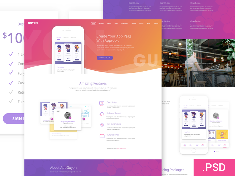 Guyon Homepage freebie website web ux ui psd homepage landingpage flat features design clean