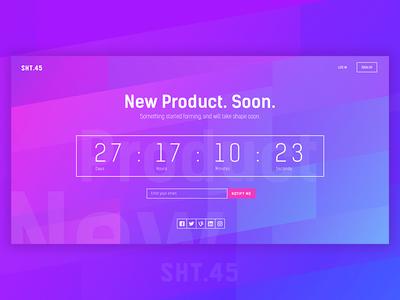 Coming Soon Page countdown design website ux ui portfolio notify gradient comingsoon
