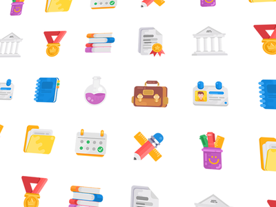 Education Icon Set book bag course education help icons illustration management profile school calendar