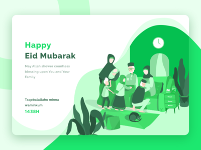 Happy Eid Mubarak web card celebrate family greetings mubarak illustration icons gradient freebies eid character