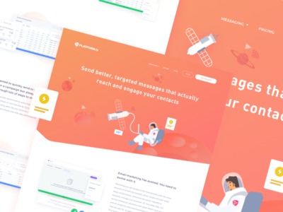 Feature Page - Messaging feature page message website space outer space landing page illustration design astronaut