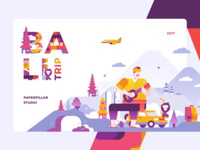 Bali Trip landmark enjoy guitar travel trip people scenery mountain illustration flight colors bali
