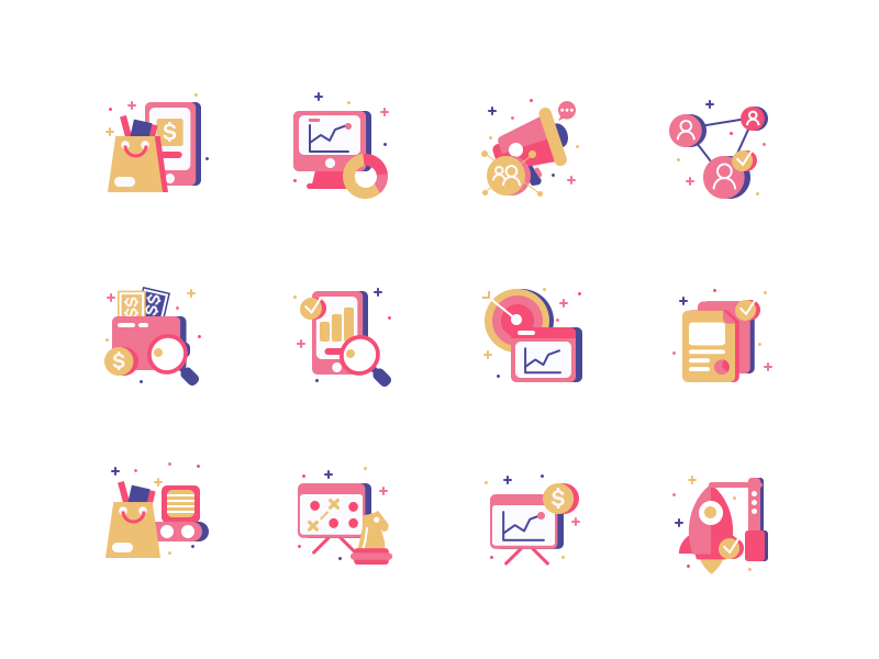 Icons For Torogrowth icon content growth search engine illustration analytics campaign optimization network marketing