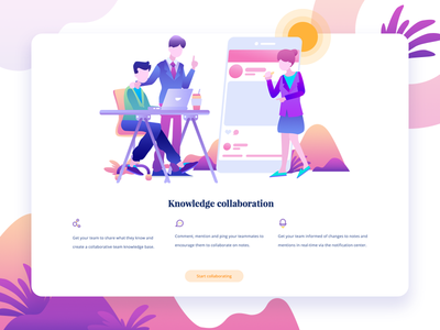 Niche - Knowledge collaboration collaboration apps team homepage illustration icon service meeting business people