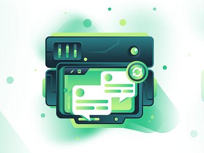 Firebase Realtime Database firebase realtime database ecommerce app intro website design service icon homepage illustration