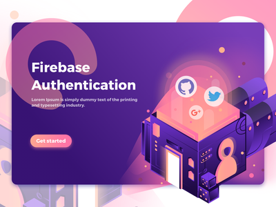 Firebase Authentication app onboard intro api design ecommerce mobile website service homepage icon illustration
