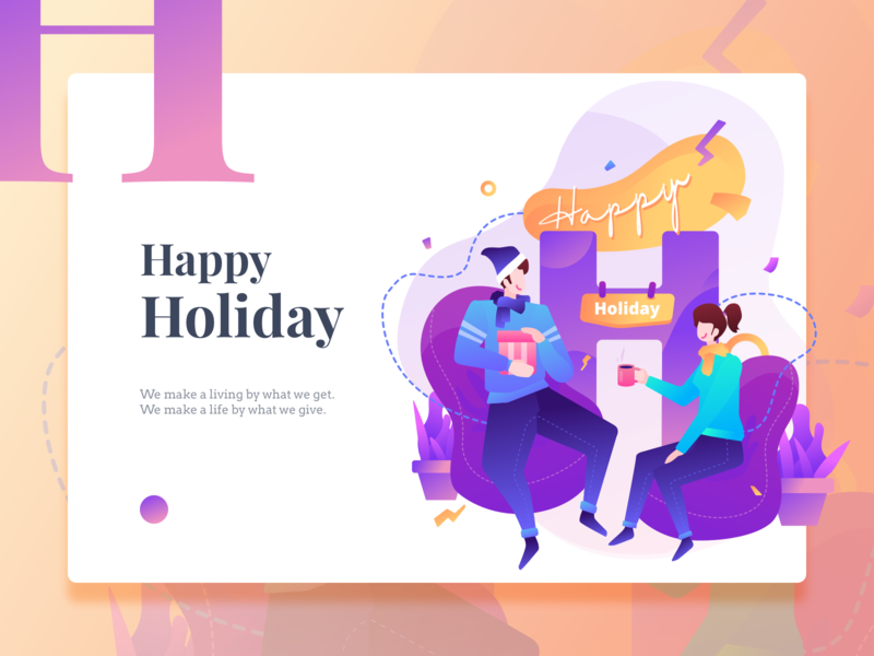 Happy Holiday Illustration v.01 greetingcard enjoy home vector happy holiday homepage website design service icon illustration