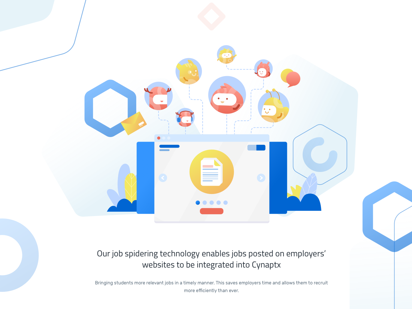 Illustration For Cynaptx employee job integrated intro website cute monster management education design homepage illustration