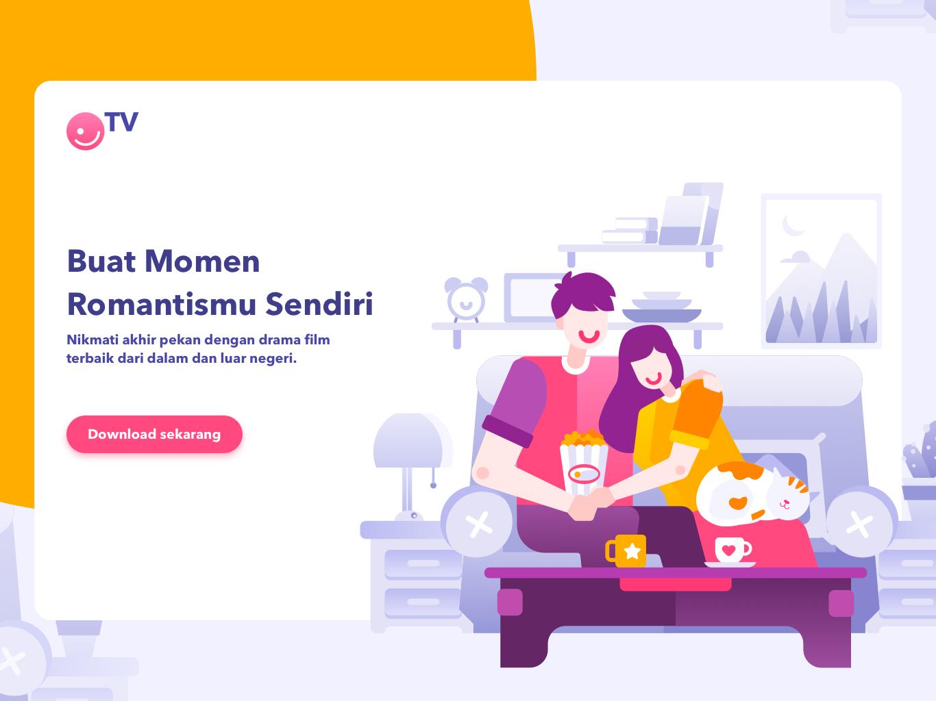 Tv Illustration v.01 romance intro onboard tv app ecommerce service website design homepage illustration
