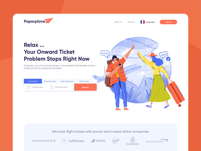 Paperplane Illustration travel planes ticket booking clean service design ecommerce intro website icon homepage illustration