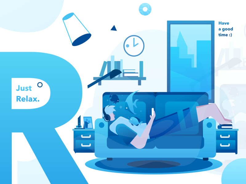 Just Relax homepage design home design service ecommerce flat illustration gradient website relaxing homepage icon illustration