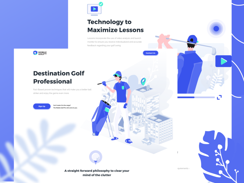 Landing Page for Mobile Golf Pro vector branding pro golf app ecommerce website service design icon homepage illustration