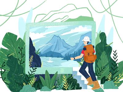 Wanderlust editorial tree plants life adventure explorer mobile ecommerce website homepage design illustration