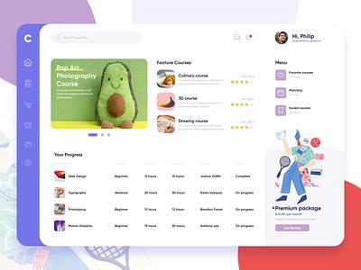 Course Dashboard clean popular dashboad course ui app ecommerce homepage website service design illustration