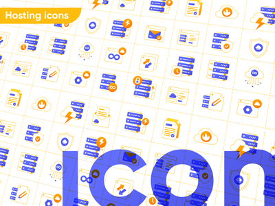 Hosting Icons unlimited server technology cloud hosting website ecommerce ui vector icon service design illustration