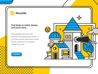 Starynite Illustration home travel app booking hotel mobile ecommerce homepage website service design illustration