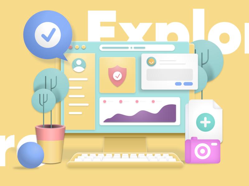 Explore explore clean homepage mobile app dashboard icon 3d effect website service design illustration