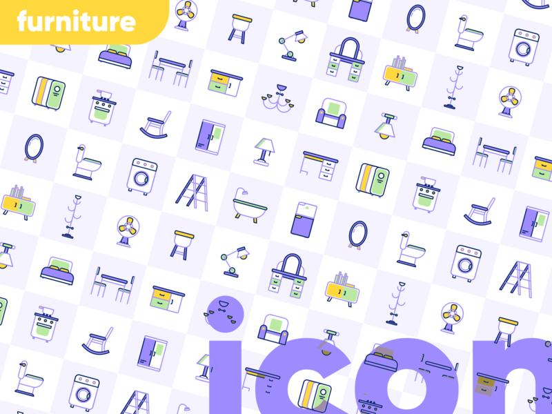 Furniture Icon set ecommerce app mobile ui icon house home furniture website service design illustration