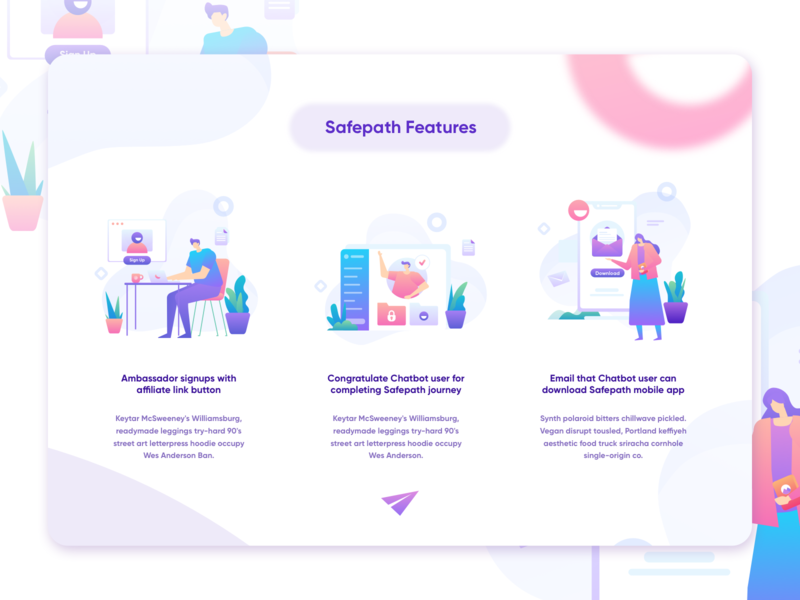 The Alternative mobile safe onboard app intro ecommerce icon homepage website service design illustration
