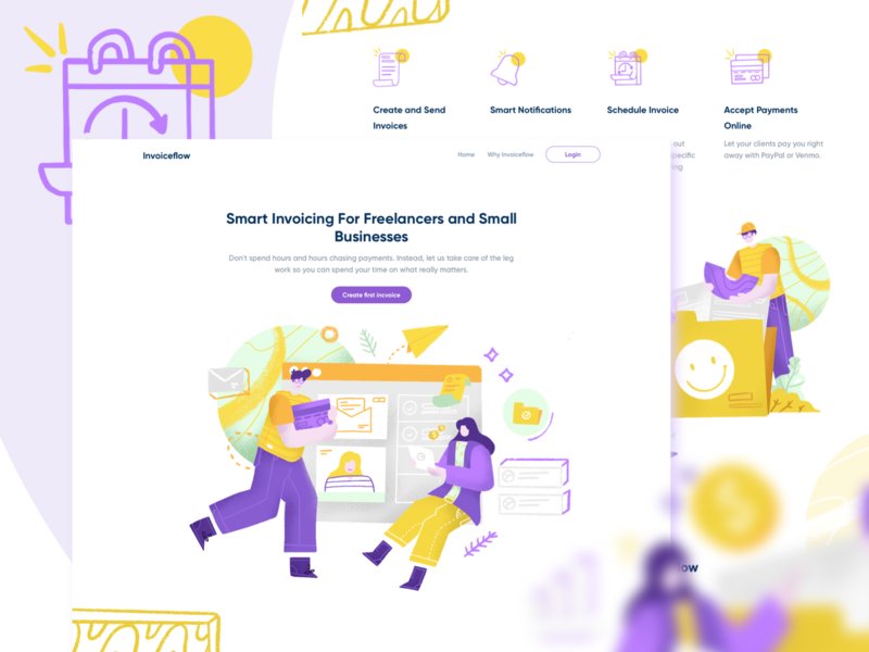 Invoiceflow smart branding invoicing invoice hero image ecommerce homepage website service design illustration