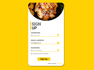 #DAILY UI 001-SIGN UP PAGE food yellow sign up log in sign up page delivery app food app ux daily ui ui