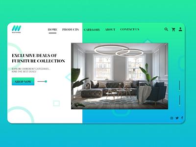 LANDING PAGE FOR A FURNITURE MART WEBSITE ui design green blue website furniture landing page ux ui