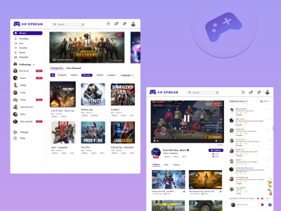GAME STREAMING - streaming chat made easy website uxui web design blue user interface live chats user research ops call on duty freefire pubg figma video games esports sports games streaming chats game streaming app purple adobe xd