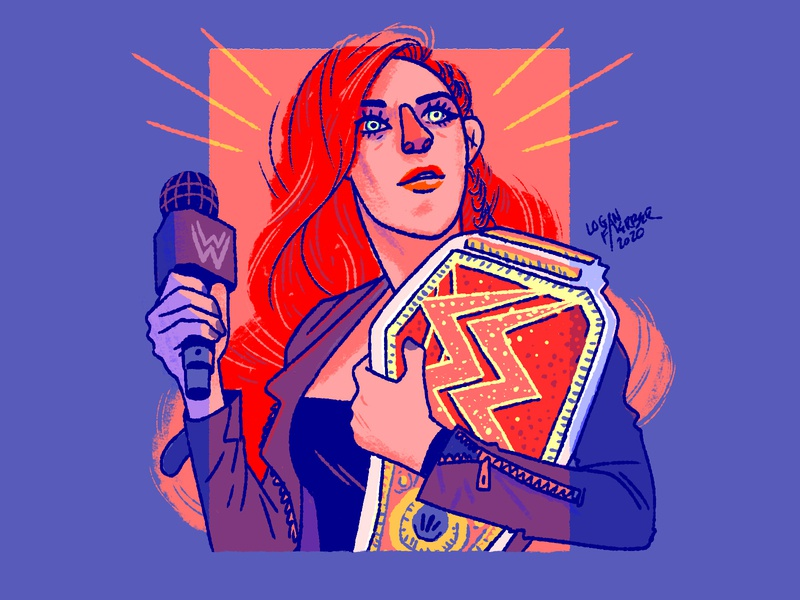 Becky Lynch painting digital art design art character design digital photoshop drawing illustration