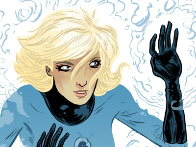 Sue Storm illustration character design digital drawing photoshop the invisible woman marvel fantastic four line color black and white