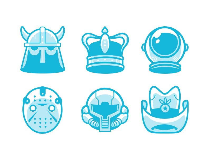 Things You Apply to Your Head Region Icon Set 1 icons illustration design graphic design drawing line illustrator vector