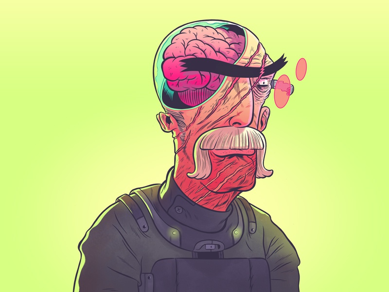 """The Brains"" - Colored illustration design photoshop drawing illustrator tablet character design ink line future space"