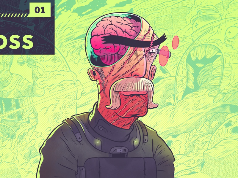 """""""The Brains""""- Colored Update illustration photoshop drawing digital web-design typography line character design"""