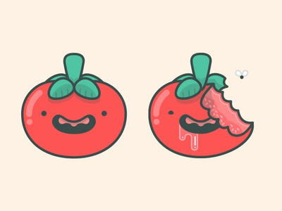 Tomato & Zombie Tomato illustration icon vector line illustrator drawing design