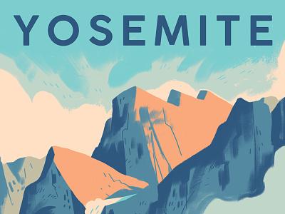 Yosemite National Park Poster california mountains national park print design drawing screen print poster illustration