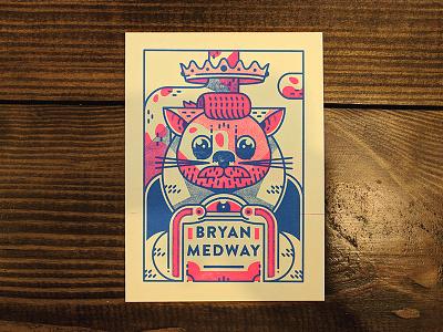 Bryan Medway Risograph Trading Card illustrator digital art trading card typography cat risograph print drawing art design illustration