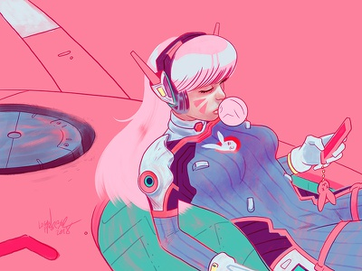D.Va painting girl blizzard video games photoshop drawing character design design illustration overwatch