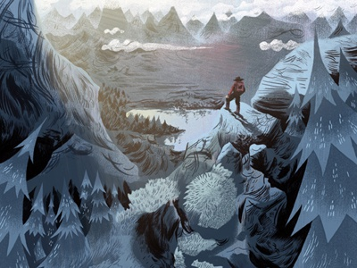 Hiking  digital stock illustration illustration art editorial stock photo texture drawing painting outside sports landscape rocks man people mountains trees sunrise woods forest outdoors hiking green red ink logan faerber