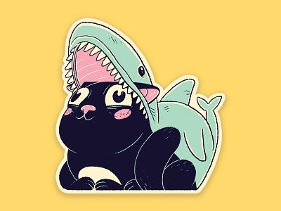 Kitty Cat Shark sticker digital art painting ink print line art character design digital photoshop design drawing illustration