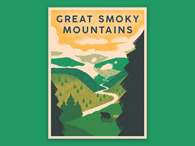 Great Smoky Mountains Poster outdoors hiking bear nature national park digital ink photoshop print typography art screen print poster design drawing design poster illustration