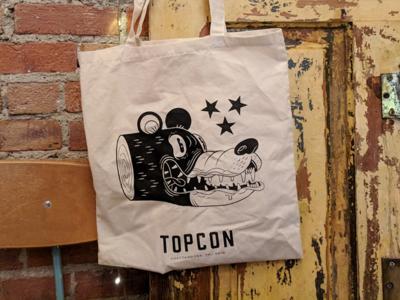 TopCon 2018 Totes screen print bear conference totebag branding logo typography ink print art character design photoshop design drawing illustration