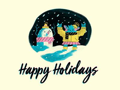 Happy Holidays Mailing Letter graphic design painting digital art typography ink print line art character design digital design photoshop drawing illustration